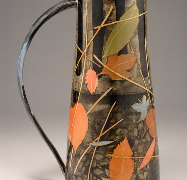 Tall jug 31cm grid, leaves & stalks £350