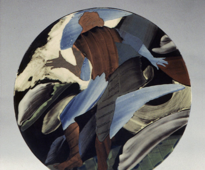 Very large plate 42cm figure in a landsacpe 1996